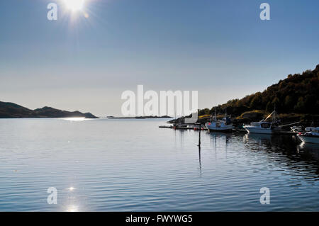 Small boat harbor on island Langøya (Vesterålen) in northern Norway - Stock Image