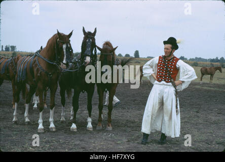 Horses in the steppes of the Puszta, Hungary.  Flamboyant traditional outfit of the horseman. - Stock Image