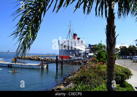 Queen Mary at Long Beach, California, USA - Stock Image