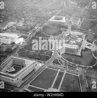 Washington D.C. History - Aerial view of Washington D.C. ca. January 1935 - Stock Image