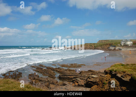 Crooklets Beach and Wrangle Point at Bude in Cornwall - Stock Image