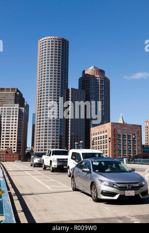 View of the Boston skyline from the South side of the Seaport boulevard bridge Massachusetts USA - Stock Image