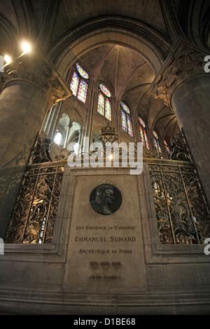Paris, France, memorial stone for Archbishop Emmanuel Celestin Suhard - Stock Image