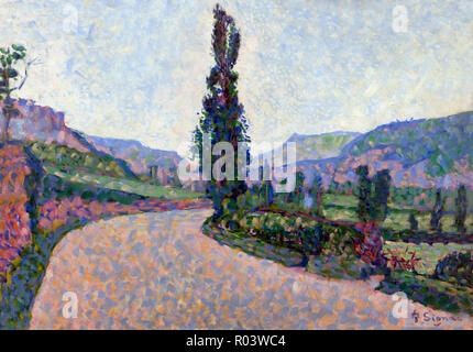 Comblat-le-Chateau, The Poplar, Paul Signac, 1887, Zurich Kunsthaus, Zurich, Switzerland, Europe - Stock Image