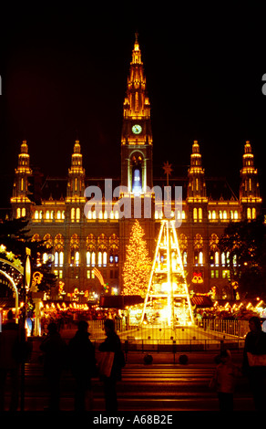 Christmas in Vienna with the Rathaus and christmas market Austria - Stock Image