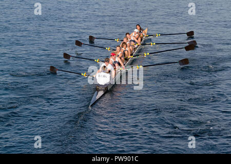 Copenhagen, Denmark, 13th October, 2018. A Swedish women's eight crew W8+ from Malmø Roddklubb, Sweden, in the international 6,5 km Copenhagen Harbour Race from Langebro in the inner harbour to the lock gate system in the South Harbour and back. - Stock Image