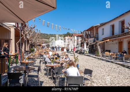 Tavernas in Omodos Square, Omodos (Troodos Mountains), Limassol District, Republic of Cyprus - Stock Image
