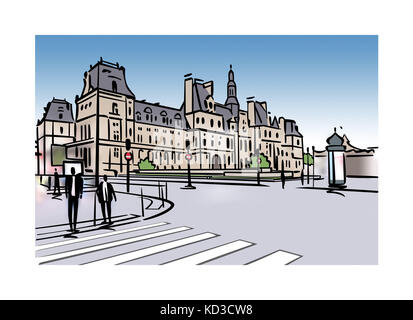 Illlustration of the Hotel de Ville in Paris, France - Stock Image