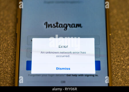 Unknown network error message on a mobile phone when an outage of the popular social media platform Instagram occurred worldwide - Stock Image