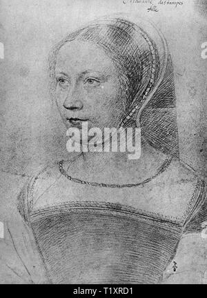 fine arts, Jean Clouet (1480 - 1541), drawing, Diane de Poitiers in younger years, 'Madame destampes, fille', early 16th century, Additional-Rights-Clearance-Info-Not-Available - Stock Image
