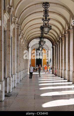 Archway by Praca do Comercio (Trade Square), Lisbon, Portugal - Stock Image