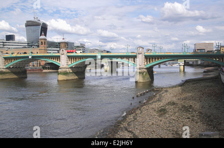 London skyline and Southwark Bridge June 2014 - Stock Image