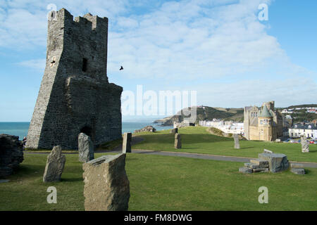 Aberystwyth Wales looking north from the ruins of the Castle and the Gorsedd Circle. The old university buildings - Stock Image
