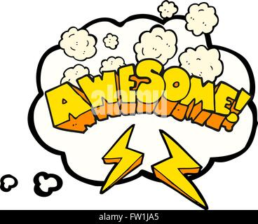 freehand drawn thought bubble cartoon word awesome - Stock Image