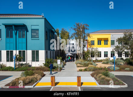 Facebook Headquarters in Menlo Park. Facebook Campus Building 10. This is where the Visitor Lobby is. - Stock Image
