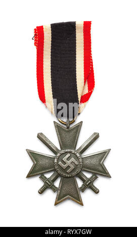 German War Medal with Cross and Swords Isolated on White. - Stock Image
