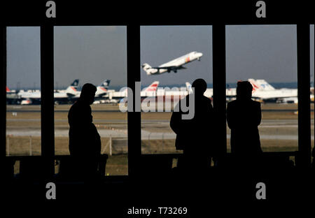 London Heathrow Airport Terminal 4 photographed with permission when first opened in 1986 - Stock Image