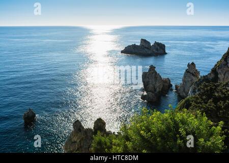 Beautiful seascape of Paleokastrica coast, Corfu, Greece - Stock Image