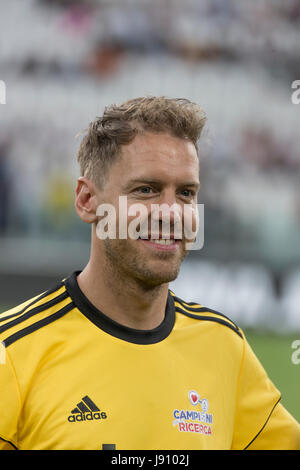 Turin, Italy. 30th May, 2017.   Football charity match. La Partita del Cuore 2017.  Singers national football team - Stock Image