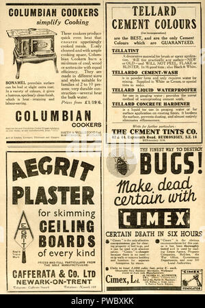 Vintage advertisement selection for hardware tools and building supplies and services dated January 17th 1936 in the Illustrated Carpenter and Builder magazine - Stock Image