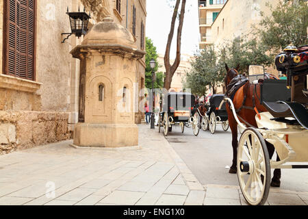 Horse carriages in front of the Cathedral La Seu, Palma de Mallorca - Stock Image