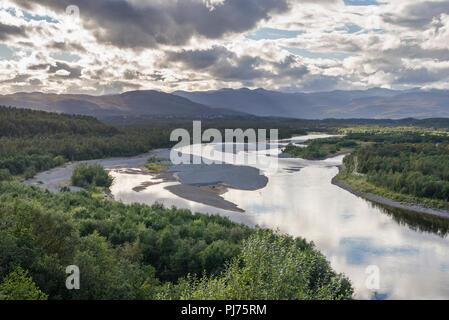 Patakorva, fishing zone in Alta river early autumn. - Stock Image