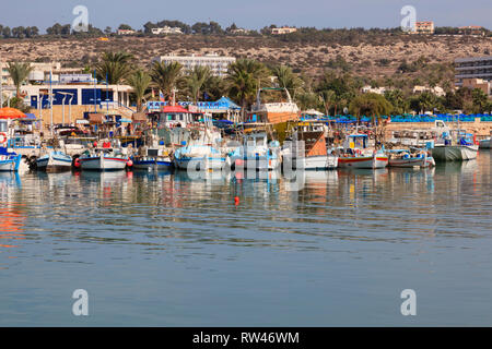 Traditional Cypriot fishing boats moored in Ayia Napa harbour, Cyprus. 2010 - Stock Image
