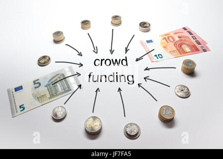 Crowd funding with Euro, Francs, Pound and Crowns in coins and banknotes - Stock Image