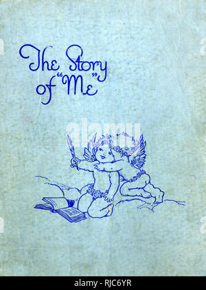 Front cover design, The Story of Me -- a baby book in which details can be recorded of the baby's date of birth, weight, first birthday, etc. - Stock Image