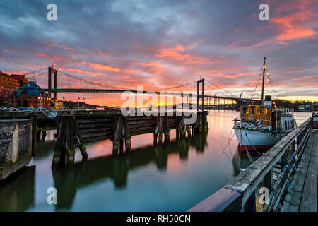 Port at sunset - Stock Image