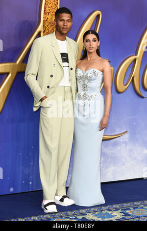 London, UK. 09th May, 2019. LONDON, UK. May 09, 2019: Jordan Spence & Naomi Scott at the 'Aladdin' premiere at the Odeon Luxe, Leicester Square, London. Picture: Steve Vas/Featureflash Credit: Paul Smith/Alamy Live News - Stock Image
