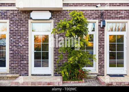 Storefront with large glass windows and a door - Stock Image