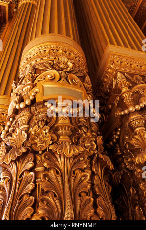 Architectural detail in the Grand Foyer of Palais Garnier, Paris, France - Stock Image