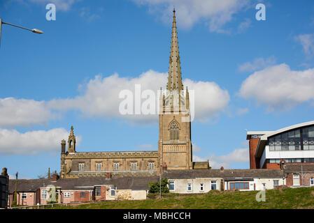 Side shot of Christ Central Preston Church seen from Adelphi Quarter in Preston, UK. - Stock Image