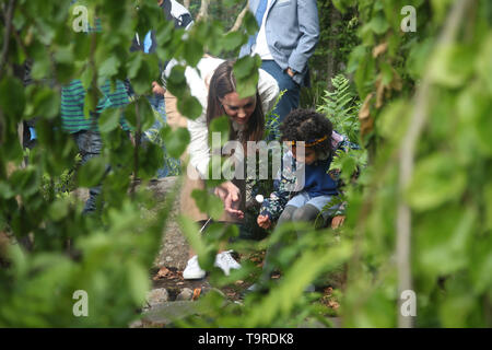 The Duchess of Cambridge during a visit to her garden at the RHS Chelsea Flower Show at the Royal Hospital Chelsea, London. - Stock Image