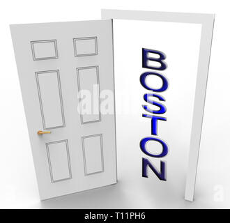 Boston Real Estate Doorway Represents Property In Massachusetts. Houses And Apartments In The United States 3d Illustration - Stock Image