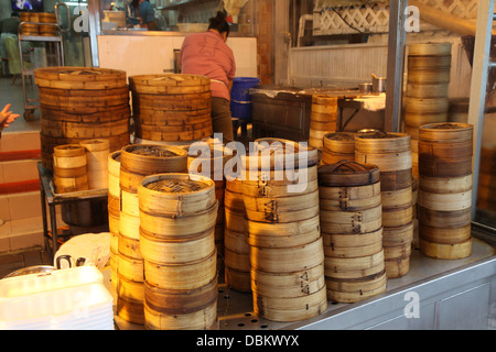 large small bamboo dim sum containers restaurant - Stock Image