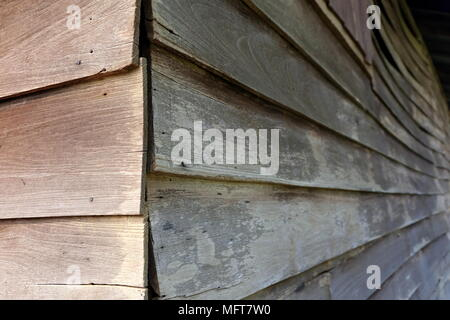Close up Corner Structure  of Old Barn Background. - Stock Image