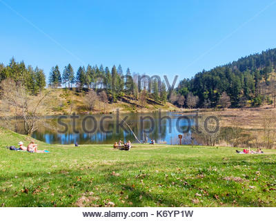 Germany, Baden-Württemberg, Lörrach district. Nonnenmattweiher Lake, a cirque lake in the Southern Black Forest (Südschwarzwald) region. - Stock Image