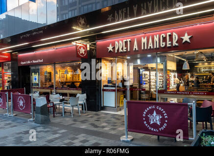 Exterior, entrance and window display of the Pret a Manger branch in central Glasgow, Scotland, UK - Stock Image