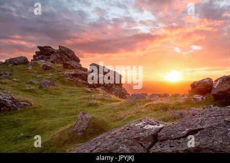 Sunset at Sourton Tor Dartmoor National Park Devon Uk - Stock Image