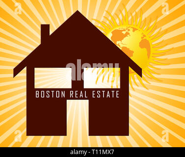Boston Real Estate Icon Represents Property In Massachusetts. Houses And Apartments In The United States 3d Illustration - Stock Image