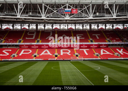 View of the field and the stands of the stadium 'Otkrytie Arena' in 97 year since the founding of the football team Spartak in Moscow, Russia - Stock Image