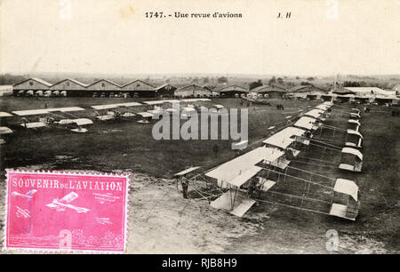 Review of Maurice Farman military biplanes, France. - Stock Image