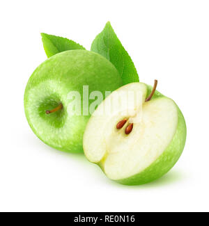 Isolated fruits. Cut green apples isolated on white background with clipping path - Stock Image