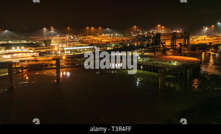Harwich, Essex, England, UK - October 05, 2018: Night at the ferry terminal and the harbour - Stock Image