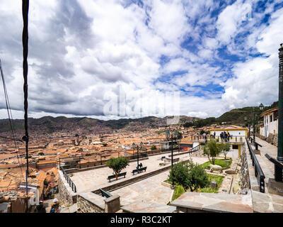 View of the Cusco city from the mirador de San Blas - Stock Image