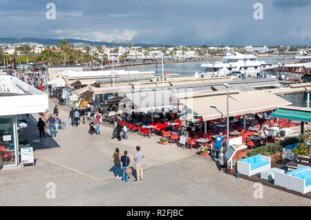 Resort view from Paphos Harbour promenade, Paphos (Pafos), Pafos District, Republic of Cyprus - Stock Image