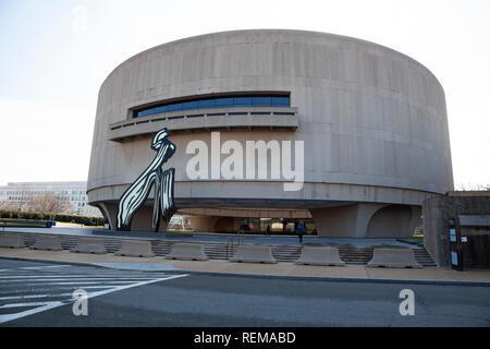 A street view of the Hirshhorn art museum and sculpture gallery beside the National Mall in Washington DC, U.S.A. - Stock Image