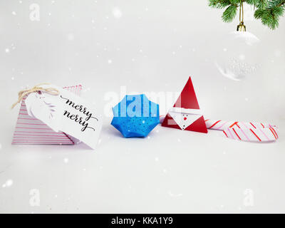 Christmas Decoration with diamond box and candy canes with snow ball for holidays best background image for Holiday - Stock Image